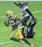 ?? BENNY SIEU / USA TODAY SPORTS ?? Marquez Valdes-Scantling's 78-yard touchdown reception helped beat Jacksonville.