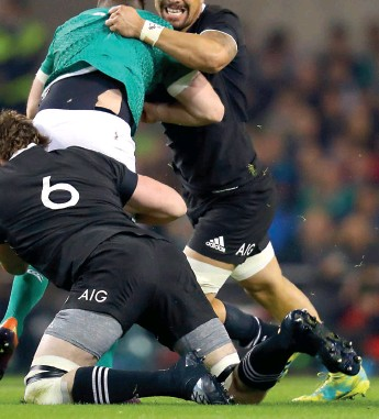 ??  ?? LAST HIT The test against Ireland in November 2018 was the last time Squire played test football.