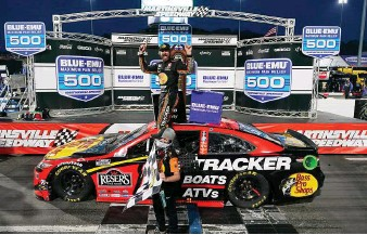 ?? STEVE HELBER   Associated Press ?? Martin Truex Jr. enjoys his third victory in the past four NASCAR Cup Series stops at Martinsville.
