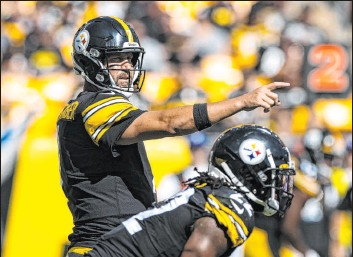 ?? Benjamin Hager Las Vegas Review-journal @benjaminhphoto ?? Steelers veteran quarterback Ben Roethlisberger threw for 295 yards Sunday, but an early interception set the tone for his day.