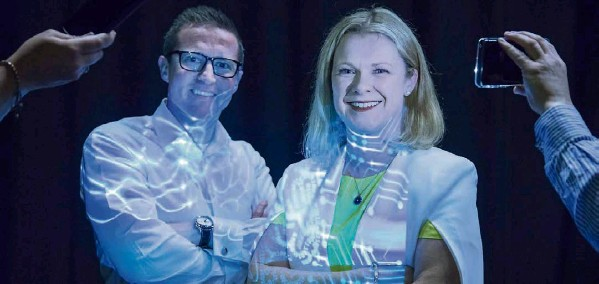 ?? Picture: Gerard McCarthy ?? Gillian Bergin, Dell EMC, and Denis Canty, McKesson, at the launch of the it@cork European Tech Summit, which takes place on May 3 in Cork City Hall.