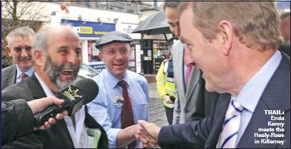 ??  ?? trail: Enda Kenny meets the Healy-Raes in Killarney