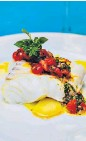 ??  ?? Fish with sauce vierge Bitter-sweet symphony