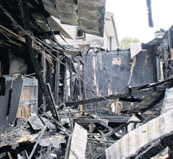 ?? PHOTO: GERARD O'BRIEN ?? Charred . . . What was left of a Portobello home after a fire engulfed it at the weekend.