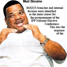 ??  ?? IFP Deputy National Chairperson Albert Mncwango explaining the reasons leading to the postponement of the IFP National Elective Conference