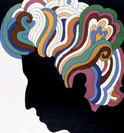 ??  ?? Icona Sopra, l'immagine di Bob Dylan realizzata da Milton Glaser per la cover del suo «Greatest Hits» nel 1967 (foto Getty). A sinistra, Dante nell'affresco di Domenico di Michelino