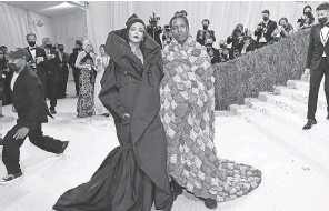 ?? THEO WARGO/ GETTY IMAGES ?? Rihanna and A$ AP Rocky attend the Met Gala celebrating In America: A Lexicon of Fashion at Metropolitan Museum of Art on Monday in New York City.