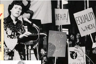 ??  ?? 1975 was International Women's Year (IWY) and Elizabeth Reid was in the spotlight at the UN (above) and as part of Gough Whitlam's IWY Committee (left). TOP LEFT: The Weekly went to Iran in 1977 to report on her work there. OPPOSITE: Elizabeth today,...
