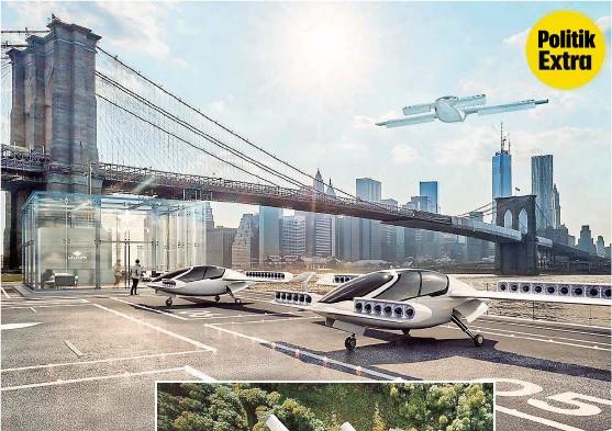 ??  ?? So könnte es schon in einigen Jahren aussehen: Lufttaxis, die leise und elektrisch bis zu 300 Kilometer weit schweben.