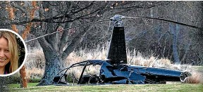 ?? STUFF ?? Four people from a wedding have been injured in a helicopter crash near Windwhistle, in the Canterbury high country. It appears they were part of a wedding party at the Terrace Downs Golf Resort. Inset: Rachel Jordan.