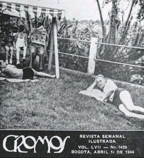 ??  ?? En una edición de abril de 1944, la revista Cromos registró cómo los alemanes confinados en el Hotel Sabaneta de Fusagasugá, tomaban el sol y leían el periódico tranquilamente.
