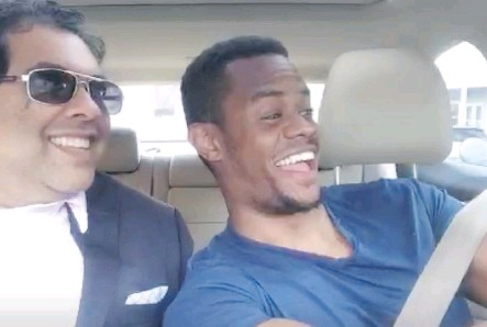 ??  ?? A video framegrab shows Calgary Mayor Naheed Nenshi, left, posing for a selfie after catching a ride with a Lyft rideshare driver in Boston, who was broadcasting the trip via a live-streaming app. In the video the mayor made candid comments on Uber's CEO and the firm's driver screening process.