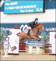 ??  ?? Future Riders (Level 1) winner Kian Monti astride CJ Van De Roshoeve at Qatar Equestrian Federation's indoor arena on Saturday.
