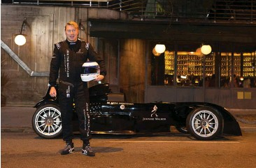 ??  ?? The legend stands with the uber-fast Caparo T1, after driving around guests in the car all day