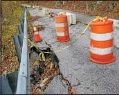 ?? PETE BANNAN — DAILY LOCAL NEWS ?? East Fallowfield officials are expecting the total cost of repairing a section of Mortonville Road along the Brandywine Creek to reach $1 million.