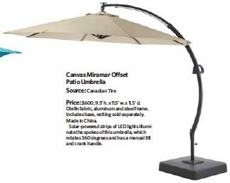Canvas Miramar Offset Patio Umbrella Source Canadian Tire Price 600 9 5 H X 11 W D Olefin Fabric Aluminum And Steel Frame