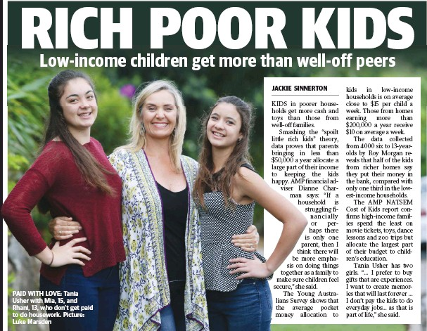 ??  ?? PAID WITH LOVE: Tania Usher with Mia, 15, and Rhani, 13, who don't get paid to do housework. Picture: Luke Marsden