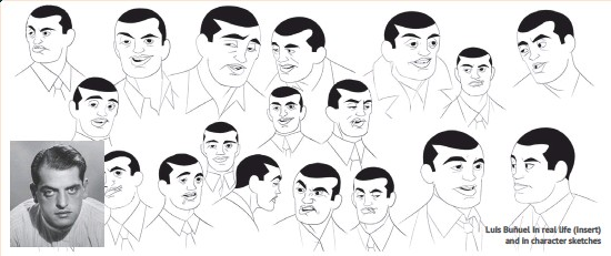 ??  ?? Luis Buñuel in real life (insert) and in character sketches