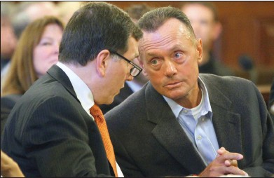 """?? File photo ?? Raymond """"Beaver"""" Tempest talks with his lawyer Michael Kendall during a 2015 court appearance. Tempest spent 24 years in prison for murder before a judge vacated his conviction. Facing the prospect of a retrial, Tempest agreed to a plea deal this year..."""