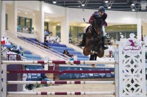 ??  ?? Big Tour winner Mohammed Khalifa Albaker in action astride Verona on the second and final day of the 3rd round of Longines Qatar Equestrian Tour Hathab 2020-2021 season at QEF's indoor arena on Saturday.