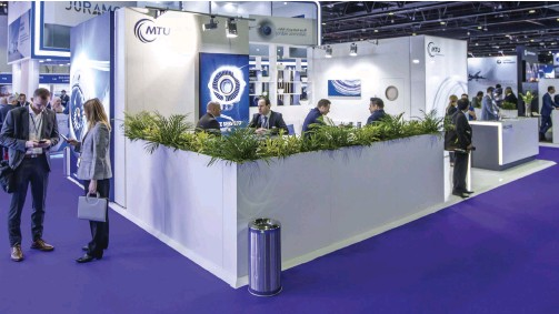 ??  ?? MTU held a prime position at the MRO Middle East show in February.