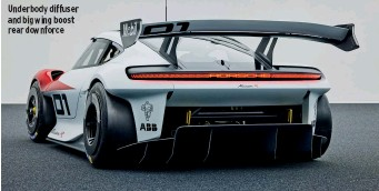 ??  ?? Underbody diffuser and big wing boost rear downforce