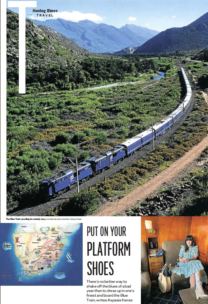 ?? PICTURES AND MAP: COURTESY THE BLUE TRAIN PICTURE: MARK PHILLIPS ?? The Blue Train wending its stately way. The writer in luxury's lap.