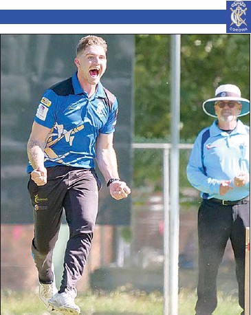 ??  ?? Jarryd Hatton … in full cry as he claims another wicket.