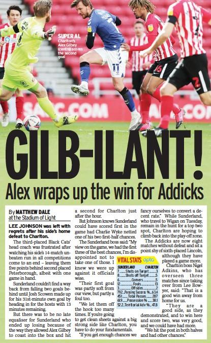 ??  ?? SUPER AL Charlton's Alex Gilbey (centre) scores the second goal