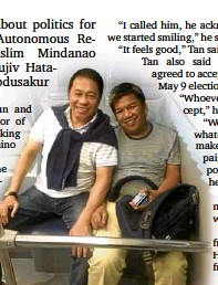 ?? CONTRIBUTED PHOTO ?? RIVALS Sakur Tan and Mujiv Hataman meet at the airport where they chat and start becoming friends.
