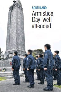 ?? PHOTOS: LAURA SMITH ?? Southland remembers . . . About 50 people attended the Invercargill Armistice Day service this year.
