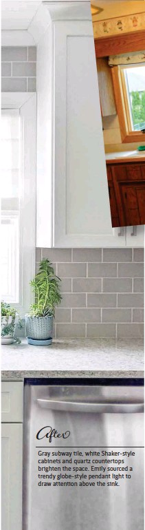 ??  ?? Gray subway tile, white Shaker-style cabinets and quartz countertops brighten the space. Emily sourced a trendy globe-style pendant light to draw attention above the sink.