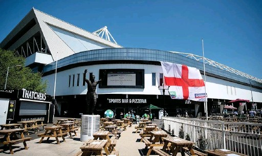 ??  ?? BARBARA EVRIPIDOU Euro 2020 matches have been shown so far in the fan zone outside the stadium – but fears over large crowds mean the final won't be shown there