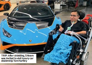??  ?? TRIP: After shielding, Shivam was invited to visit luxury car dealership Tom Hartley