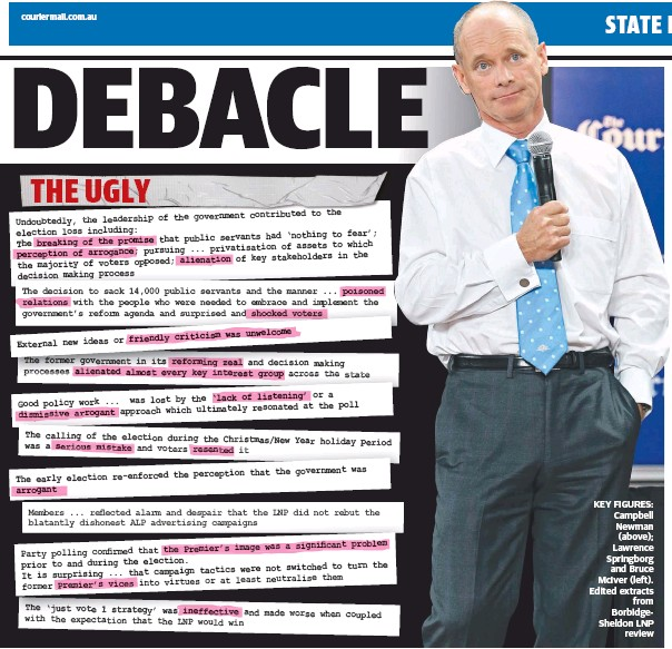 ??  ?? KEY FIGURES: Campbell Newman (above); Lawrence Springborg and Bruce McIver (left). Edited extracts from BorbidgeSheldon LNP review