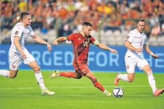 ?? // AFP ?? Eden Hazard marcó un tanto con Bélgica
