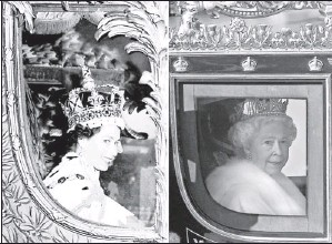 ?? File photos by Shaun Curry, INP, via AFP/ Getty Images ?? Storied carriage: The queen in June 2,1953, left, after being crowned, and in London on Nov. 6, 2007.