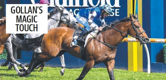 ??  ?? Graff ridden by Damien Oliver wins the Caulfield Sprint at Caulfield Racecourse. Picture: Pat Scala/Racing Photos.