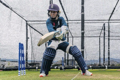 ?? PHOTO: GETTY IMAGES ?? Into her work . . . England's Heather Knight bats in the nets at the Queenstown Events Centre. The England squad completed its 14day quarantine in the resort on Tuesday and started training yesterday.