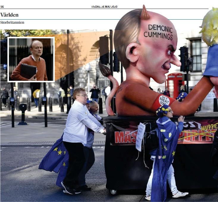 ??  ?? En figur föreställande rådgivaren Dominic Cummings som håller i en kasperdocka som föreställer premiärminister Boris Johnson. Bilden är tagen under en protest anordnad av brexitmotståndare.