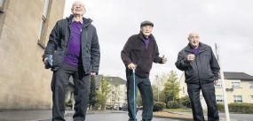 ??  ?? Erskine walking challenge Alex Bremner, Jim McColl and Chic Connor