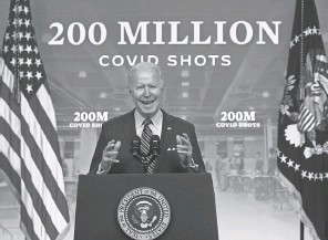 ?? ALEX WONG/ GETTY IMAGES ?? President Joe Biden discusses the national response to COVID- 19 on April 21.