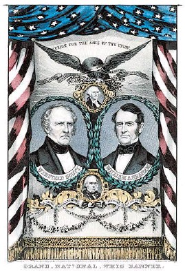 ?? LIBRARY OF CONGRESS ?? The national Whig banner featuring presidential candidate Winfield Scott, left, and running mate William A. Graham, circa 1852.