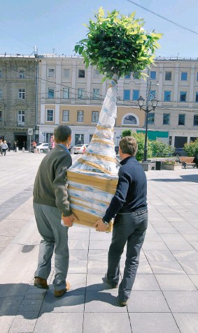 ?? / а. махонин / ведомости ?? деревья в центре москвы не стоят на месте: растения в кадках можно менять на более подходящие по сезону