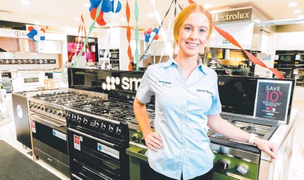 ??  ?? Chloe Shakespeare has been busy selling whitegoods at Harvey Norman, Fortitude Valley. Picture: Richard Walker