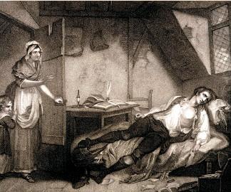 ??  ?? Gravure représentant le poète anglais Thomas Chatterton gisant sur son lit de mort après son suicide, à l'âge de 18 ans.