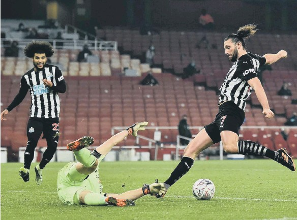 ??  ?? Arsenal keeper Bernd Leno denies Andy Carroll late in normal time at the Emirates Stadium.