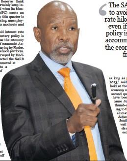 ??  ?? Reserve Bank Governor Lesetja Kganyago Photo: Freddy Mavunda/ Business Day