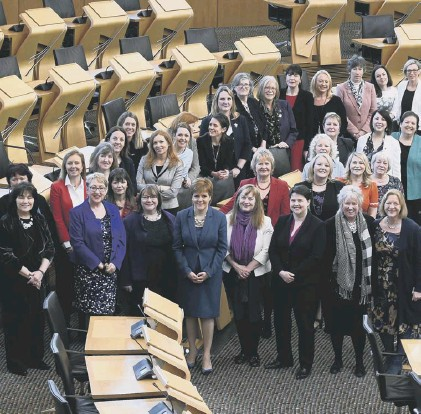 ??  ?? 0 Fe­male Scot­tish MSPS, pic­tured in 2018, mark the 100th an­niver­sary of women over 30 get­ting the vote