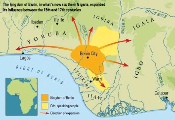 ??  ?? The kingdom of Benin, in what's now southern Nigeria, expanded